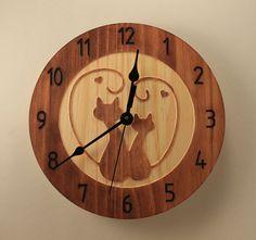 Kitty love clock Cat clock Wall clock Wood by BunBunWoodworking