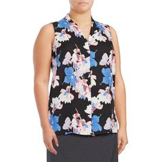Vince Camuto Plus Plus Poetic Bouquet Invert Pleat Blouse ($79) ❤ liked on Polyvore featuring plus size women's fashion, plus size clothing, plus size tops, plus size blouses, silver sand, flower print tops, floral print blouse, floral sleeveless blouse, v neck blouse and vince camuto tops