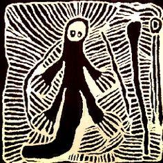 Linda Syddick Napaltjarri, Kangaroo Man, acrylic on belgian linen, 70 x 70 cm.