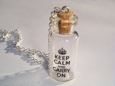 Sale Keep Calm And Carry On Glass Vial Bottle Charm by indiemeadow, $18.00