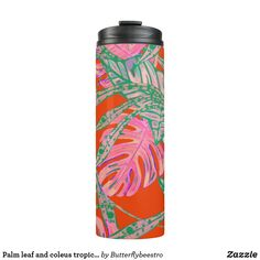Shop Palm leaf and coleus tropical fire thermal tumbler created by Butterflybeestro. Coral Pink, Pink And Green, Hawaiian Pattern, Tropical Design, Fire And Ice, Animal Skulls, Candy Jars, Custom Tumblers, Green Colors