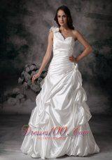 Customize One Shoulder Wedding Dress Pick ups Floor-length