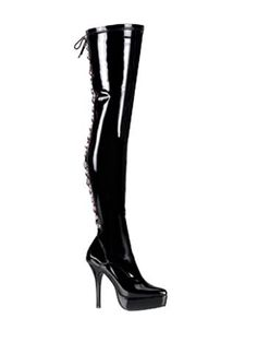6326557488 Devious Ladies Kinky Boots Devious Fetish Shoes 5 Inch Back Lace-Up Stretch  Platforms Thigh High Length Boots Heel Height/Platform: 5 Heel, 1 Platform  Sexy ...