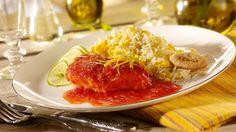 Pui Jamaican Piept de pui cu sos de portocale, limes si rosii insotit de orez cu ou. www.ricasigica.ro
