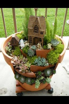 Fairy garden home from a broken pot