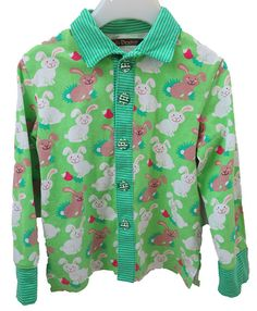 FAIRYKNITS: Hasen-Hemd aus Jersey mit Fimo-Ostereier-Knöpfen