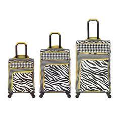 Houndstooth & Zebra Print Luggage Set.