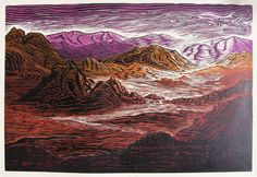 Original Rare Woodblock full color Call of the Desert Southwest Mojave Landscape Woodcut print on Arches Paper