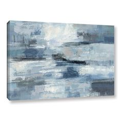 Silvia Vassileva 'Clear Water Indigo and Gray' Gallery Wrapped Canvas - Free Shipping Today - Overstock.com - 18628783 - Mobile