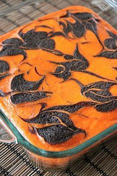 Orange and Black Cream Cheese Swirl Brownies (Halloween Bake Toddler)