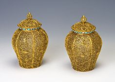 Burghley Collections | A pair of gold filigree baluster vases and covers, late 17th Century.