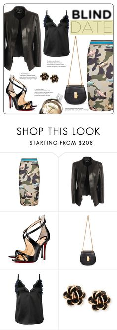 """""""It 's a date"""" by elli-argyropoulou ❤ liked on Polyvore featuring Pinko, Alexander McQueen, Christian Louboutin, Chloé, 3.1 Phillip Lim, Chanel, Chantecler, lace, leatherjacket and pencilskirt"""