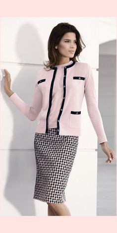 Love the skirt; hate the piping on the jacket. Switch that out for a black sweater or jacket.