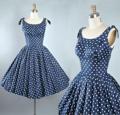 Vintage 50s Dress / 1950s Cotton Sundress Navy BLUE Polka DOTS Full Circle Swing Skirt Picnic Garden Party Rockabilly Pinup XS Small by GeronimoVintage on Etsy