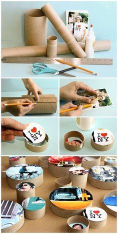 DIY: mural de fotos com rolos de papel Diy Crafts To Sell, Diy Crafts For Kids, Home Crafts, Fun Crafts, Paper Roll Crafts, Cardboard Crafts, Diy Paper, Cardboard Tubes, Diy Photo