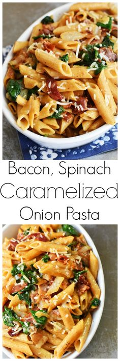 Bacon, Spinach Caramelized Onion Pasta- An easy to make pasta dish that features a light sauce that is made from the bacon and onion juices from caramelization