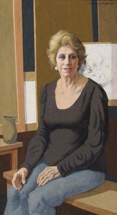 Portrait of Angela Ancora da Luz (2012) by Lydio Bandeira de Mello (b. 1929), Brazilian works in the fresco tradition (bandeirademello)