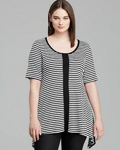 Karen Kane Plus Stripe Front Handkerchief Top | Bloomingdale's