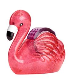 Pink/flamingo. Plastic tape dispenser. Contains one roll of tape. Size approx. 5 1/2 x 6 in.