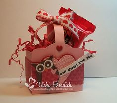 I am popping in here with a quick post, I wanted to share with you a cute little valentine box I made. Valentine Baskets, Valentine Treats, Valentine Day Crafts, Love Valentines, Valentine Cards, Owl Punch Cards, Treat Holder, Treat Box, Owl Always Love You