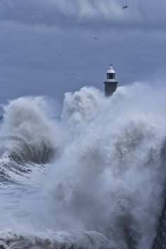 lighthouse caught in a storm