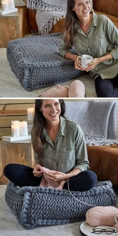 Knitting Pattern for Easy Extra Seating Floor Pillow - Easy jumbo cushion k. Free Knitting Pattern for Easy Extra Seating Floor Pillow - Easy jumbo cushion k.Free Knitting Pattern for Easy Extra Seating Floor Pillow - Easy jumbo cushion k. Afghan Patterns, Knitting Patterns Free, Free Knitting, Crochet Patterns, Amigurumi Patterns, Crochet Cushion Pattern Free, Crochet Floor Cushion, Simple Knitting, Knitted Cushions