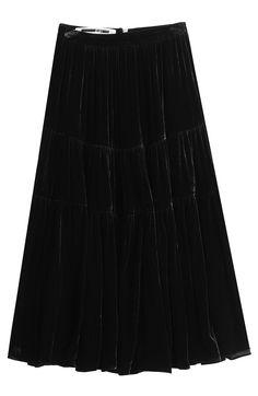 ALEXANDER MCQUEEN - Velvet Midi Skirt with Silk | STYLEBOP
