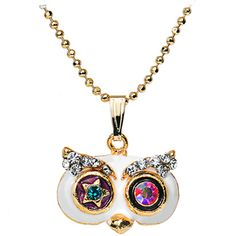 Gold Tone Starry Eyed Gemmed Owl Pendant Necklace $10.99 #owl #jewelry #necklace