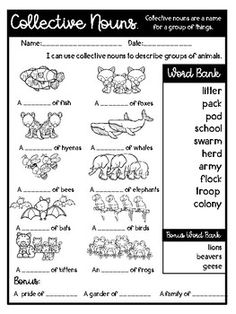 Collective Nouns Worksheet 2 ELA-Literacy.L.2.1a Language