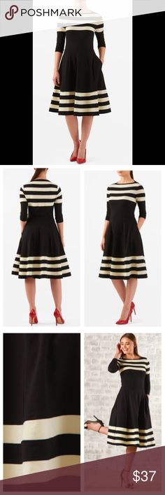 "New Eshakti Striped Fit & Flare Dress M 8 New Eshakti striped fit & flare dress M 8 Measured flat: Underarm to underarm:34"" Waist:27-31"" Length:42 1/2"" Sleeve:16 1/2"" Eshakti size guide for 8 bust:36"" Slips on overhead, high boat neck, nipped in elastic waist. Flared skirt w/ side seam pockets. Cotton/spandex, jersey knit, light stretch, light structured feel, mid-weight. Machine wash.  New w/ cut out Eshakti tag to prevent returning to Eshakti eshakti Dresses"