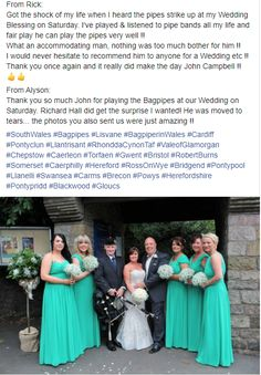 Always a pleasure receiving a Testimonial from a client from their Wedding. It is made even more special when both Bride & Groom independently complete such kind words. Thank you Alyson & Richard from 2016 :-) #SouthWales #Bagpipes #Lisvane #BagpiperinWales #Cardiff #Pontyclun #Llantrisant #RhonddaCynonTaf #ValeofGlamorgan #Chepstow #Torfaen #Gwent #Bristol #RobertBurns #Caerphilly #RossOnWye #Bridgend #Pontypool #Llanelli #Swansea #Carms #Brecon #Powys #Herefordshire #Pontypridd #Blackwood… Bridesmaid Dresses, Prom Dresses, Formal Dresses, Wedding Dresses, John Campbell, Robert Burns, Herefordshire, Swansea, Cardiff
