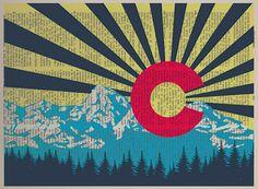 Colorado Flag Dictionary Art Print Colorado Art by Lexiconograph