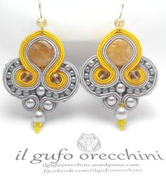sun and fog soutache earrings handmade Soutache Necklace, Ring Necklace, Tassel Earrings, Drop Earrings, Boho Jewelry, Jewelry Crafts, Micro Macrame, Beading Tutorials, Beaded Embroidery