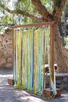 Metallic Fringe and Fabric Streamer Colorful Wedding Backdrop or Photo Booth Backdrop on Etsy, $185.00