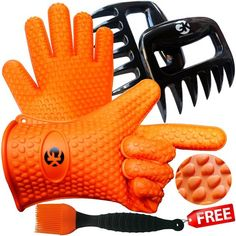 3 x No.1 Set: The No.1 Silicone BBQ /Cooking Gloves Plus The No. 1 Meat Shredder Plus The No.1 Silicone Basting Brush?PLUS 3 EBooks w/ 344 Recipes?Superior Value Premium Set?100% Money Back Satisfaction Guarantee >>> Read more reviews of the product by visiting the link on the image.