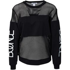 Estradeur Bounce Sweater ($35) ❤ liked on Polyvore featuring tops, sweaters, shirts, black, jumpers & cardigans, womens-fashion, ribbed top, mesh shirt, mesh sweater and cuff sleeve shirt
