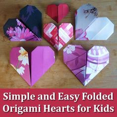 How kids (and adults) can make simple and easy origami paper folded hearts in just 11 steps easy step by step Origami Ball, Easy Origami Heart, Instruções Origami, Origami Simple, Easy Origami For Kids, Origami Paper Folding, Origami Star Box, Paper Crafts Origami, Origami Stars