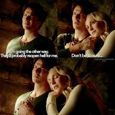 - {TVD • 8.16} This was such a sweet moment between Damon and Caroline ❤