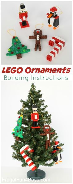 LEGO Christmas Ornaments to Make (With Building Instructions Five LEGO Christmas Ornaments to Make (With Parts Lists and Building Instructions!)Five LEGO Christmas Ornaments to Make (With Parts Lists and Building Instructions! Lego Christmas Ornaments, Christmas Crafts For Kids, Christmas Activities, Christmas Projects, Christmas Fun, Holiday Crafts, Christmas Decorations, Christmas Tables, Nordic Christmas