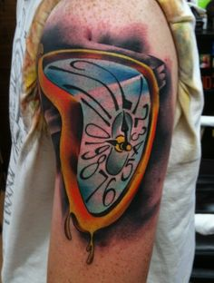 Salvador Dali (Melting Clock) Tattooed by Brandon Notch...