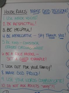 UPDATED: Rules, Points System, and Chore Charts for Children   The only problem I have with this is the do not ask adults why.... If the child is not sure, then they should ask why and as an adult we can help them find the answer. Yes, children can ask why unnecessarily, but that's where you help them identify good questions.