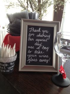 Melissa and Chris - wine glass favors- chalkboard paint on bottom of glass to write your name on #BlackHillsReceptions