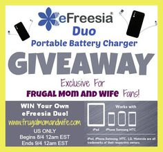 Frugal Mom and Wife: eFreesia Duo Portable Charger Review & Giveaway! WINNER ANNOUNCED