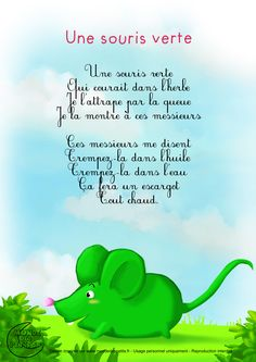 Paroles_Une souris verte                                                                                                                                                                                 Plus French Education, Kids Education, French Poems, French Nursery, French Worksheets, Material Didático, French Classroom, French Resources, French Language Learning