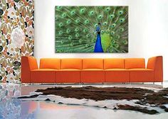 For bold wall art, try a peacock canvas