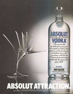 """This ad for Absolut vodka is an example of subliminal advertising because it is showing that the glass is """"attracted"""" to the Absolut vodka."""