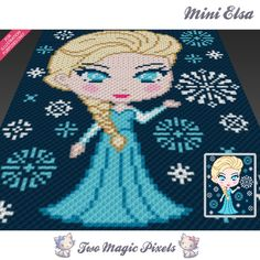 Mini Elsa crochet blanket pattern; knitting, cross stitch graph; pdf download; Disney Frozen; no written counts or row-by-row instructions by TwoMagicPixels, $3.79 USD