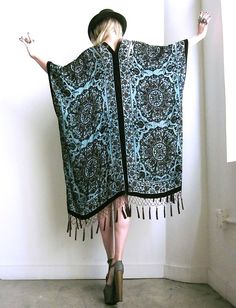 Poncho/Vest thingy made from 2 long scarves sewn together (Back view)--I think I can do this.