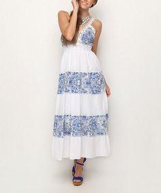 Loving this Blue Floral Stripe Tie-Back Maxi Dress on #zulily! #zulilyfinds