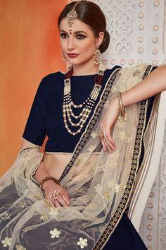 Superb Navy Blue Color Art Silk Designer Lehenga Choli Shop For lehenga choli with customizable blouse Online in India at VJV Fashions. Plain Lehenga, Navy Blue Lehenga, Simple Lehenga, Net Lehenga, Lehenga Choli Online, Diwali Dresses, Designer Bridesmaid Dresses, Party Wear Lehenga, Navy Blue Color